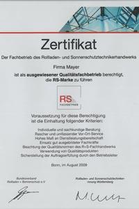 Mayer Rolladen- & Sonnenschutztechnik aus Pfullingen ist Mitglied des Bundesverbandes für Rollladen- und Sonnenschutztechnik