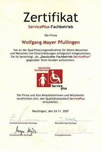 Mayer Rolladen-& Sonnenschutztechnik aus Pfullingen hat die Zertifizierung als ServicePlus-Fachbetrieb