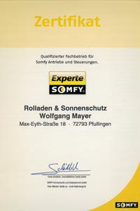 Mayer Rolladen- & Sonnenschutztechnik ist seit Jahrzehnten Somfy Experte.
