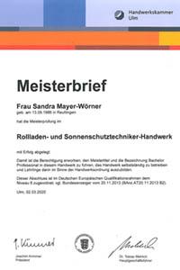 Thumb Meisterbrief Sandra Mayer-Wörner